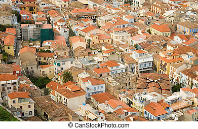 Bird view of central Nafplion with red tile roofs. Peloponnese peninsula, Greece