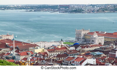Bird view of Lisboa downtown. Baixa rooftops with the...