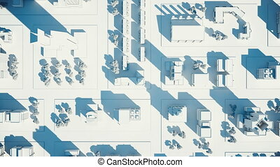 Bird view aerial shot of city streets on sunset, with camera goes down. 3D animation