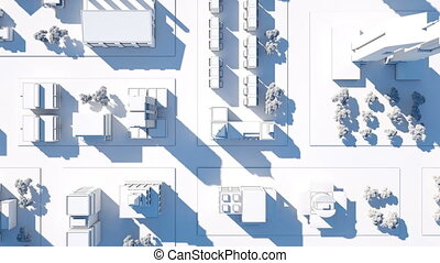 Bird view aerial shot of city streets on sunset, with camera goes up. 3D animation