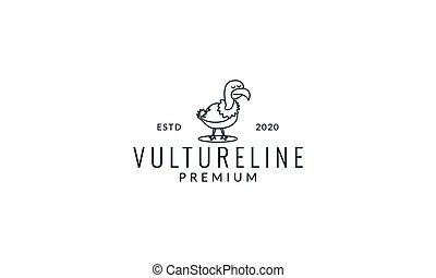 bird vulture line cute cartoon  logo icon illustration vector