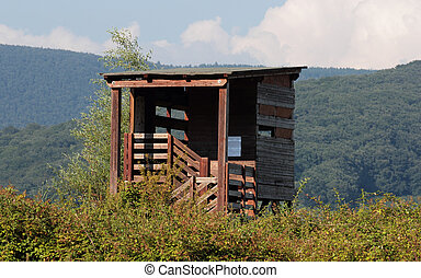 bird-watching hut along Vico Lake, Italy