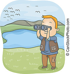 Bird Watching - Illustration of a Man Using a Pair of...