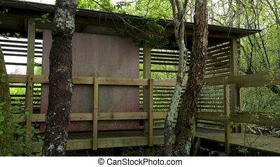 Bird watching shelter in Lagoas de Bertiandos natural park,...