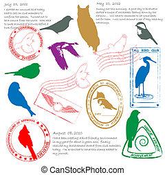 Bird Watching Stamps Icon Set