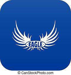 Bird wing icon blue vector