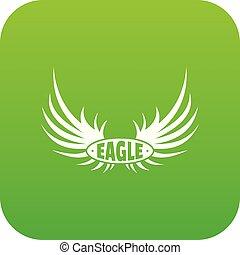 Bird wing icon green vector