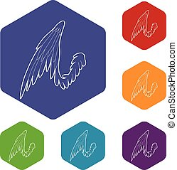 Bird wing icon, outline style