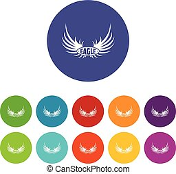 Bird wing icons set vector color