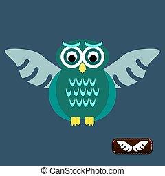 Bird wings abstract vector logo design template. Flying Owl icon.