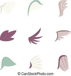 Bird wings icons set, cartoon style