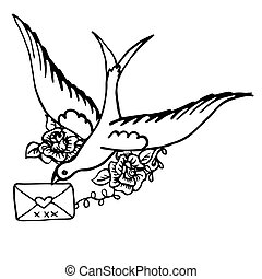 Bird with a letter. Hand drwan sketch old school classic tattoo design