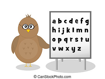 Bird with alphabet letters