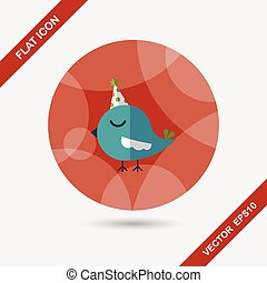 bird with birthday hat flat icon with long shadow, eps10