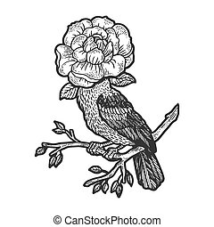 Bird with flower instead of head sketch engraving vector illustration. T-shirt apparel print design. Scratch board style imitation. Hand drawn image.