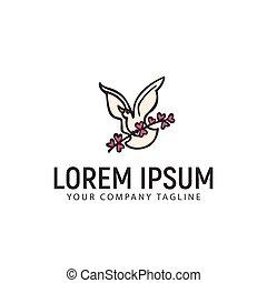 bird with flower logo design concept template