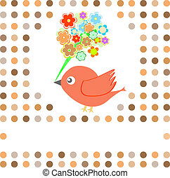 bird with flowers card background