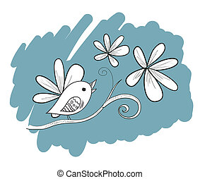Bird with flowers, hand drawn illustration