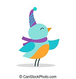 Bird with Hat and Scarf on Vector Illustration