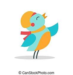 Bird with Hat and Scarf Vector Illustration Icon