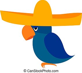 Bird with hat, illustration, vector on white background.