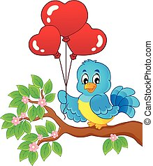 Bird with heart shaped balloons theme 2