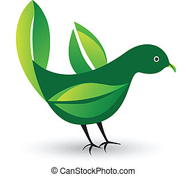 Bird with leafs as wings logo