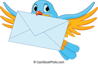 Bird with letter - Illustration of cute bird with letter