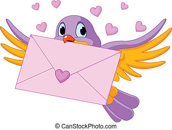 Bird with love letter - Illustration of cute bird with love...