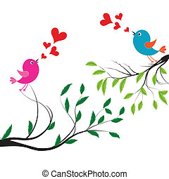 Bird with love. Vector illustration