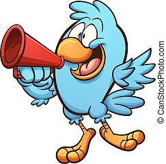 Bird with megaphone - Bird speaking on megaphone. Vector...