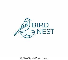 Bird with nest logo design. Bird watching vector design