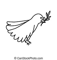bird with olive branch line style icon