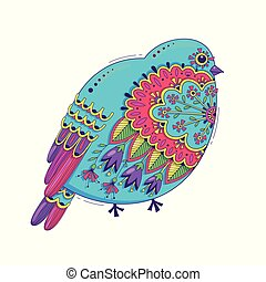 Bird with oriental patterns and flowers. Bright happy design element. Vector illustration