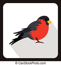 Bird with red plumage icon, flat style