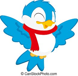 bird with santa cloth