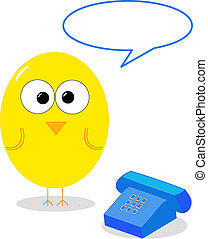 Bird with telephone