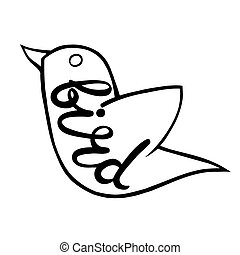 Bird with the inscription on the body.