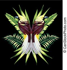 bird with tropical banana leaves in mirror style
