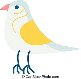 Bird with yellow wing vector illustration on white background
