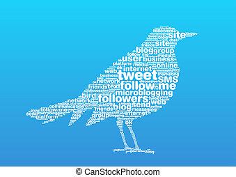 Bird words 2 - Few words of the social blogging draw a bird