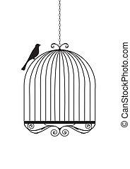 Bird and birdcage vector illustration.