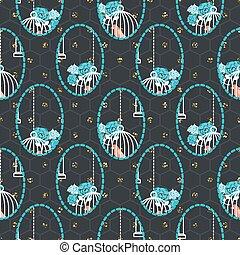 Birdcage dark blue romantic seamless vector pattern.