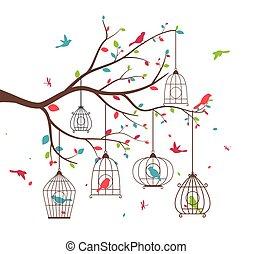 birdcages, albero, uccelli, colorito