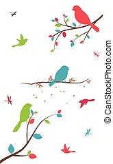 birdcages, boompje, vogels, kleurrijke