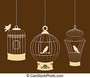 birdcages, e, pássaros