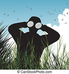 Editable vector illustration of a man with binoculars watching birds