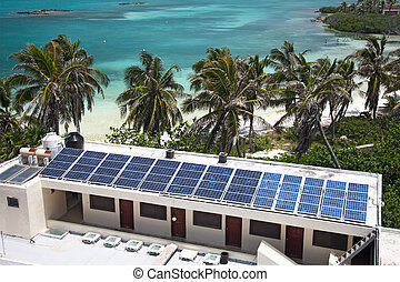 birdeye view on the beach with a building with a solar panel on the Isla Contoy, Mexico