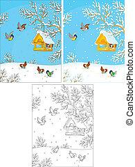 Birdfeeder - Titmice and sparrows around a birdfeeder in a...