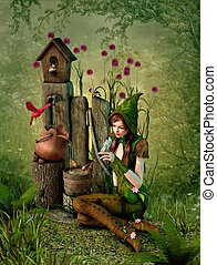 Birdhouse, 3d CG - 3d computer graphics of a girl with a...